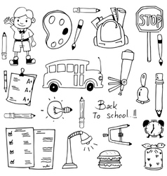 Doodle of hand draw school eductaion vector