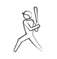baseball player pictogram vector image vector image