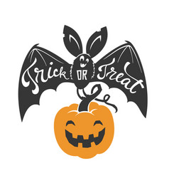 cartoon flying bat with spread wings and trick or vector image