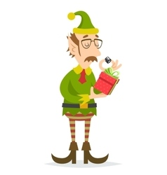 Christmas elf gift character quality check process vector