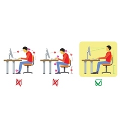 Correct and bad spine sitting posture vector image vector image