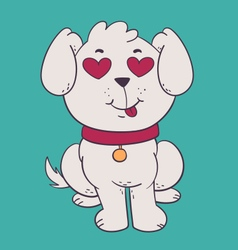 Cute dog in love with hearts instead of eyes vector