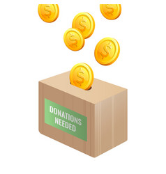 donations needed sign on wooden box with gold vector image vector image