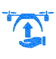drone takeoff grunge icon vector image
