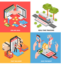 e-commerce concept isometric design vector image vector image
