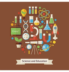 Flat style education and science objects concept vector