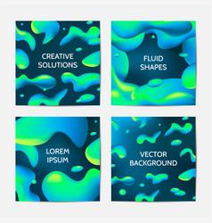 Fluid colors backgrounds set vector