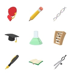 High school icons set cartoon style vector
