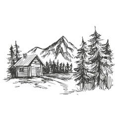 House in mountain landscape hand drawn vector