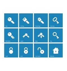 Key icons on blue background vector