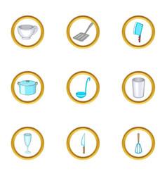 kitchen utensils icons set cartoon style vector image