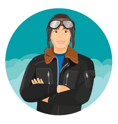 male pilot in jacket and leather aviator hat with vector image vector image