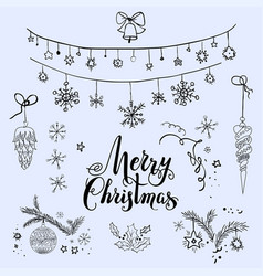 merry christmas sketch set vector image vector image