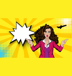 Pop art cartoon comic sexy shocked stewardess vector