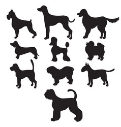 Set of black silhouettes cartoon dog breeds vector
