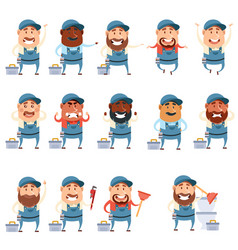 Set of flat plumber icons vector