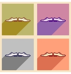 Set of flat web icons with long shadow male shoes vector