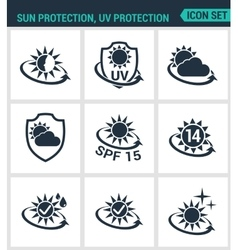 Set of modern icons sun uv light vector