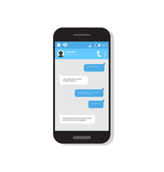 Smart phone with chatting sms bubble messages vector