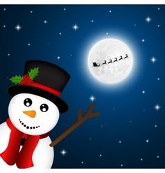 Snowman goodbye waving santa claus flies reindeer vector