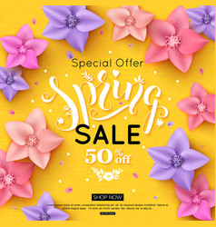 spring sale banner design with colorful flowers vector image