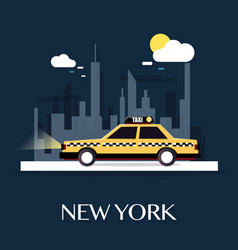 taxi car with new york city vector image vector image