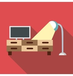 Tv and lamp icon flat style vector