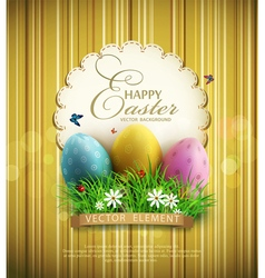 vintage background with easter eggs vector image vector image