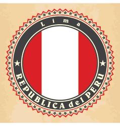 Vintage label cards of peru flag vector