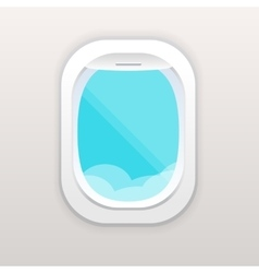 Aircraft window with cloudy blue sky outside vector