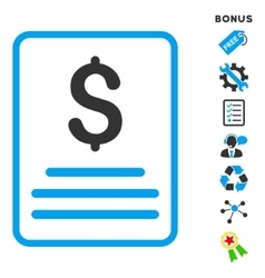 Invoice flat icon with bonus vector