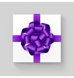Square gift box with purple violet ribbon bow vector