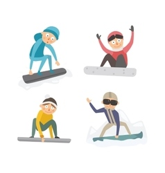 Snowboarder jump in different pose vector