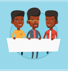 Group of young men holding white blank board vector