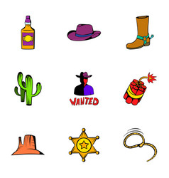 rodeo icons set cartoon style vector image