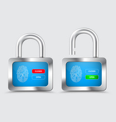 chromed padlock with blue display with vector image