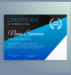 Certificate design template with clean blue vector