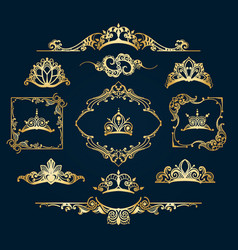 Victorian style golden decor elements vector