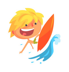 Boy surfing on a big wave cartoon character vector