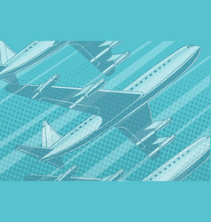 Modern aircraft in the sky travel background vector