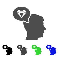Diamond thinking flat icon vector