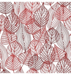 Seamless pattern of red autumnal leaves vector image