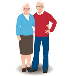 Senior couple in full length vector