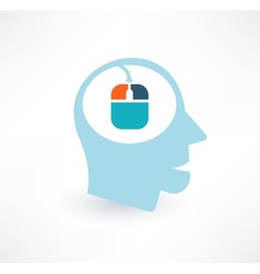 Mouse and head icon computer addiction concept vector