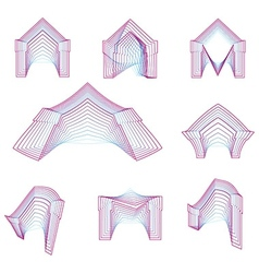 Abstract geometrical line icons for arch vector