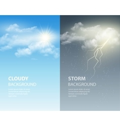 Thunder and lightning sun and clouds Weather vector image