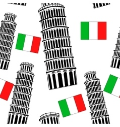 Sketch pisa tower seamless pattern vector