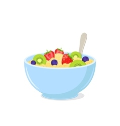 Porridge with fruits in a bowl vector