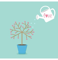 Love tree in the pot heart flower watering can vector