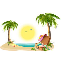 Beach holidays on summer vacations tropical sun vector